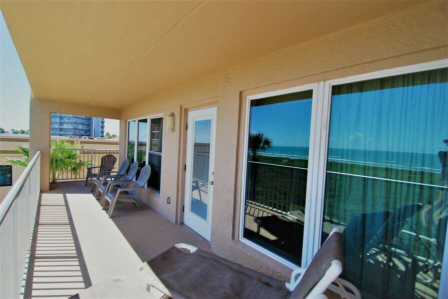 Spacious beachfront balcony. Enjoy a cup of coffee and a book as the sun rises over South Padre Island!