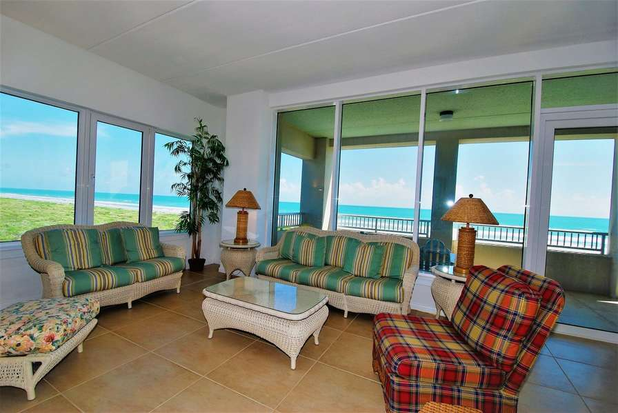 Living room over looking the Gulf of Mexico
