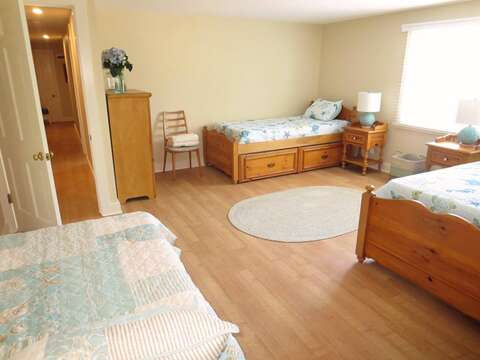 Bedroom #4 3 twin beds with nightstand and dresser .80 Landing Lane Chatham Cape Cod - New England Vacation Rentals