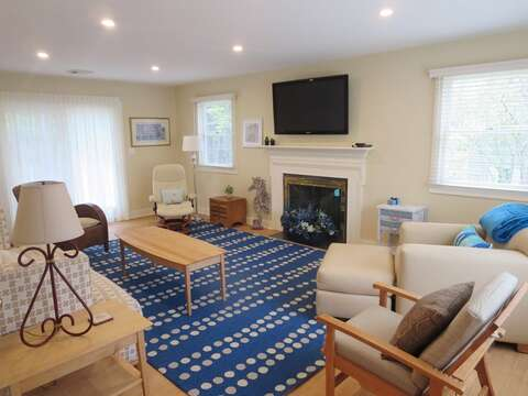 Family room with flat screen TV and plenty of seating for the family. 80 Landing Lane Chatham Cape Cod - New England Vacation Rentals