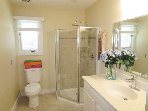 Full bath #1 with shower. 80 Landing Lane Chatham Cape Cod - New England Vacation Rentals