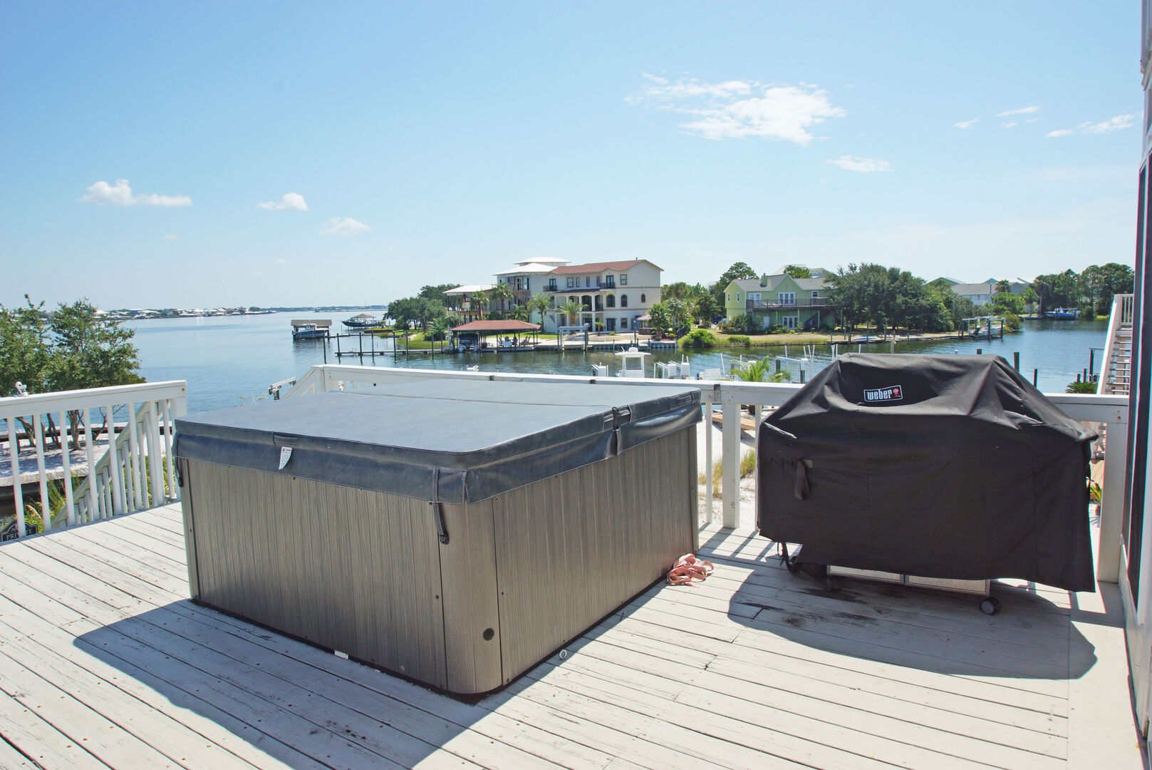 Relax in the hot tub after grilling up the catch of the day