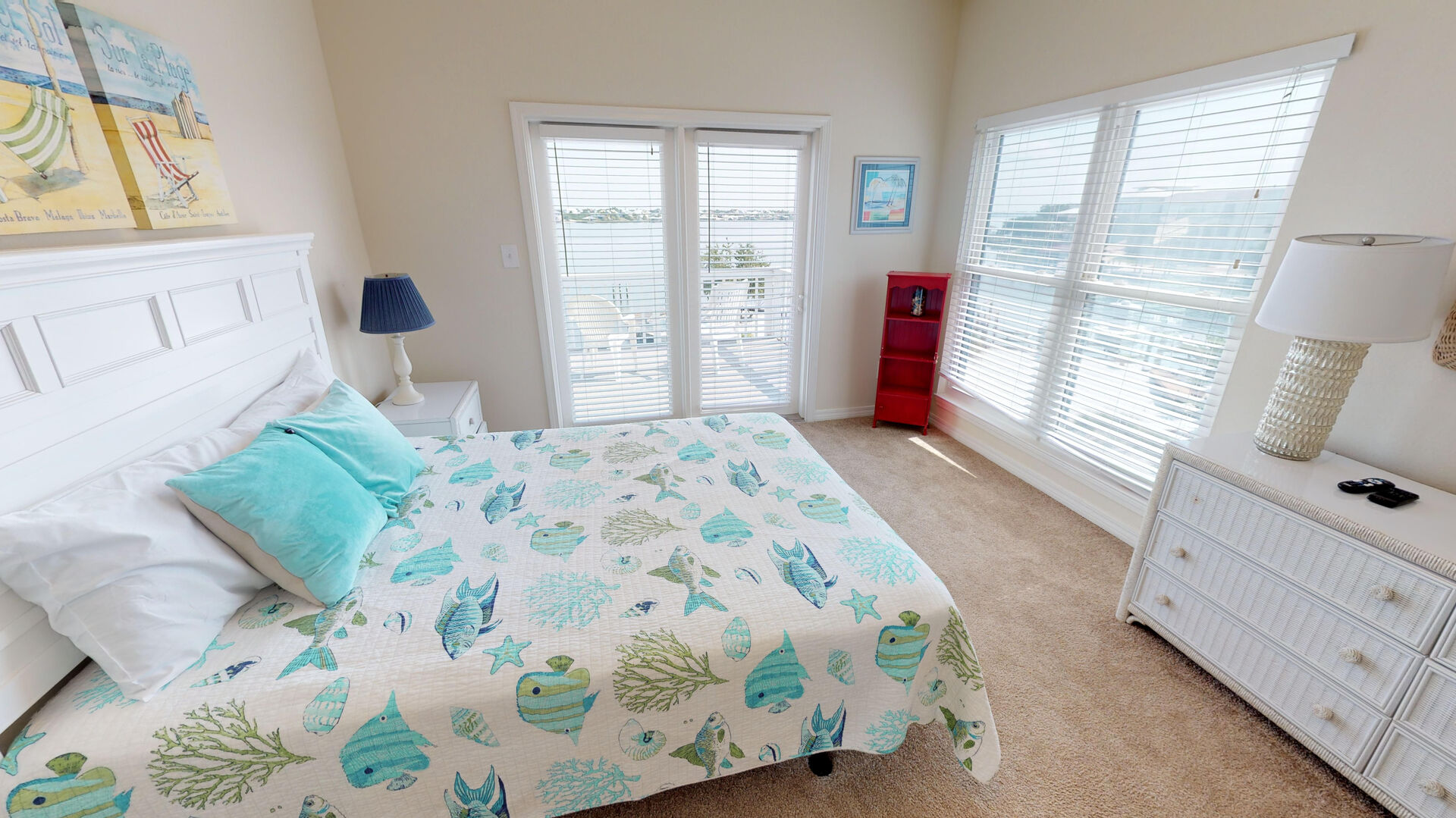 On the 3rd floor, bedroom 2 has a queen bed and a private deck