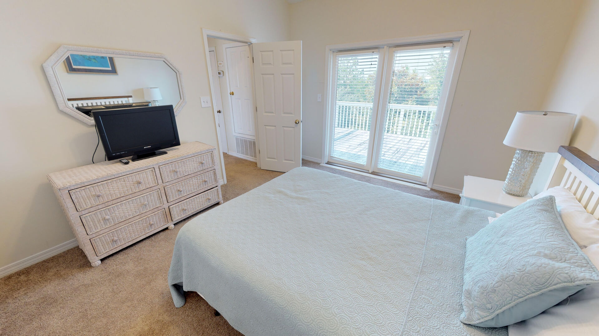 On the 3rd floor, bedroom 3 has a queen bed and a private deck