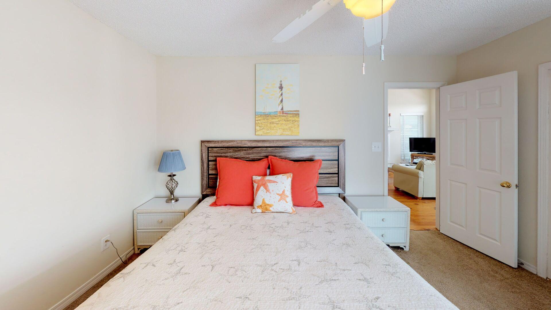 Main floor master bedroom has a queen bed to sleep 2