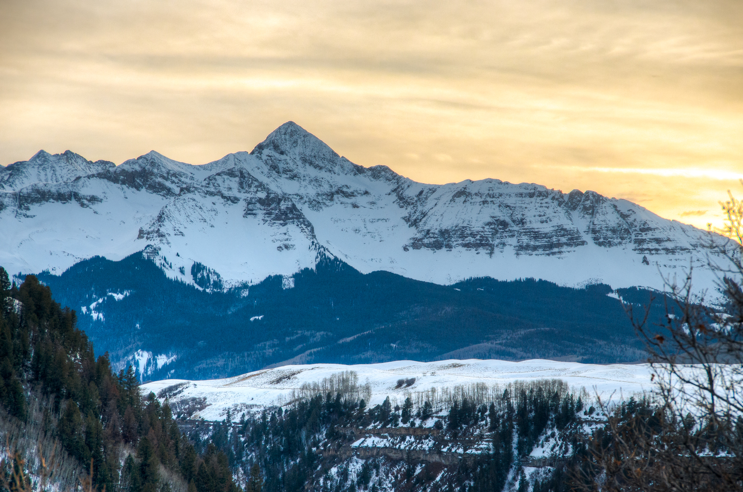 Beautiful View of the Snowy Mountains in Telluride