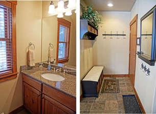 Main Level half bathroom and mud room storage area