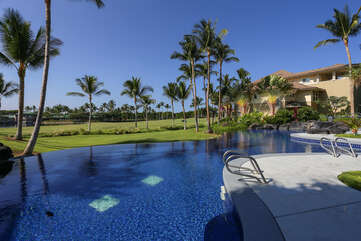 Outdoor Pool with Views of the Golf Course at Waikoloa Hawaii Vacation Rentals