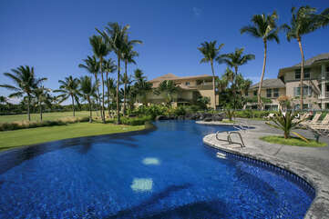 Blue Infinity Pool Surrounded by Palm Trees and Golf Course