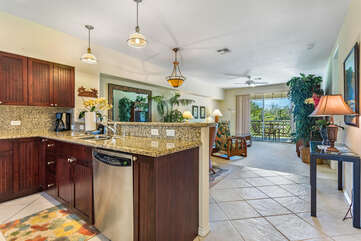 Kitchen Are with Granite Counter Tops and Stainless Steel Appliances at Waikoloa Hawaii Vacation Rentals