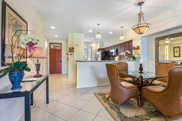 Dining and Kitchen Area with Tropical Decor