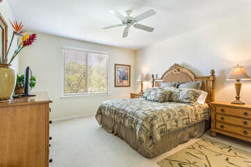 Bedroom with Tropical Decor and Views of outside at Waikoloa Hawaii Vacation Rentals