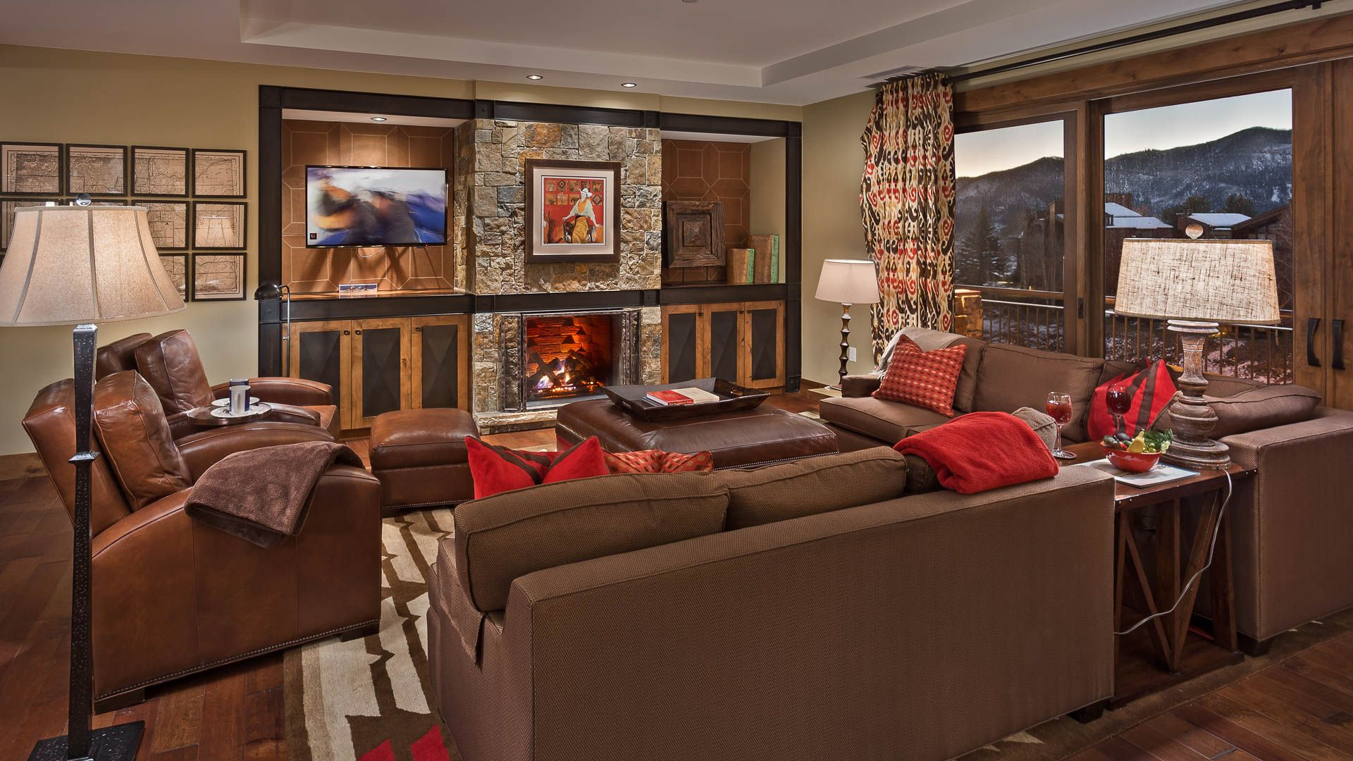 Living Room has a Gas Fireplace and Lovely Mountain Views