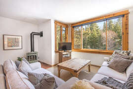 Living room with views of the ski runs at Northstar