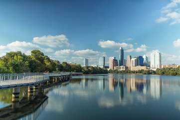 Lady bird lake boardwalk trail is just a 10-15 minute WALK away. It's part of a stunning 10 mile hike & bike loop. You can also easily get to Zilker park (home of ACL festival) this way.