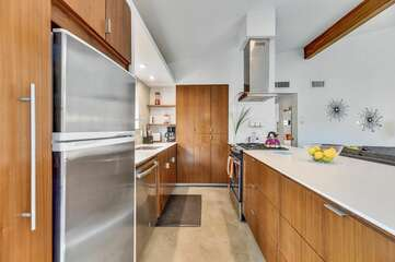 Designer kitchen with custom cabinetry and high-end stainless appliances.