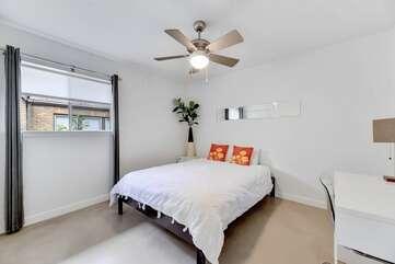 Bedroom #2: Memory foam Queen bed, high quality linens + desk in bedroom.