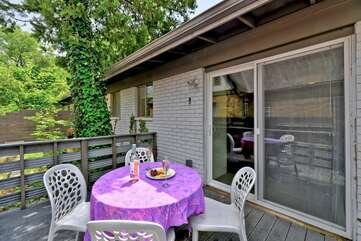 The outdoor patio is completely gated in - bonus for children and pets.