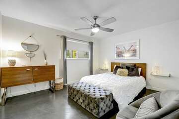 Bedroom #1 features Comfy Queen-sized Mattress, High Quality Linens, & Large Walk-in closet.