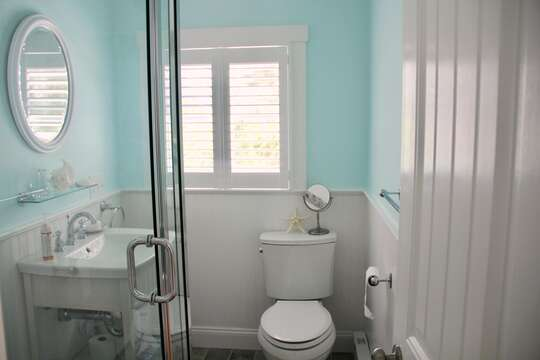 Full bathroom with a shower - 425 Paines Creek Brewster Cape Cod - New England Vacation Rentals