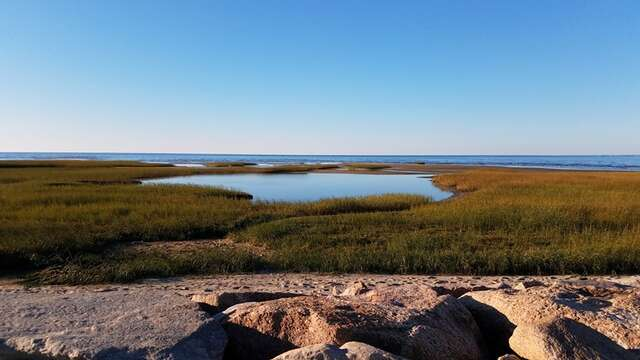 Stroll down and look at The beautiful view at the end of Paines creek-  Paines Creek Beach Brewster Cape Cod - New England Vacation Rentals