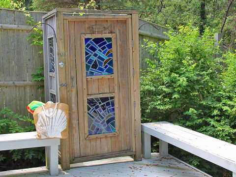 Fully enclosed outdoor shower, perfect for rinsing off after a day at the beach! - 425 Paines Creek Brewster Cape Cod - New England Vacation Rentals