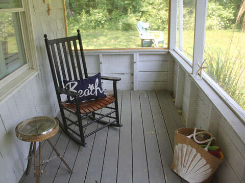 Enjoy the enclosed porch - 425 Paines Creek Brewster Cape Cod - New England Vacation Rentals