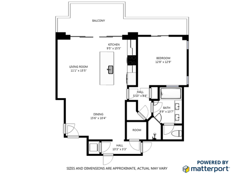 A Floorplan of the One Bedroom Villa