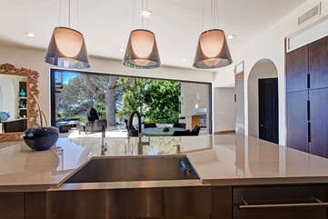 Kitchen island, looking at the outdoor area.