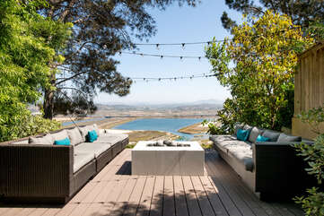 Another seating area in the backyard with views.
