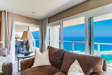 Ocean views from the living room! The sofa is a pull out.