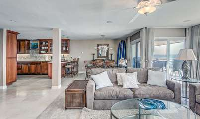 Great room: Kitchen, living room (the sofa is a pullout), dinning area, all with an incredible oceanfront view!