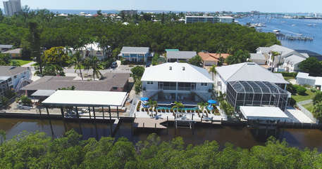 Aerial of the back of The Blue Herons