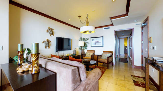Wide View of Living Room in our Ko Olina Condo on Oahu
