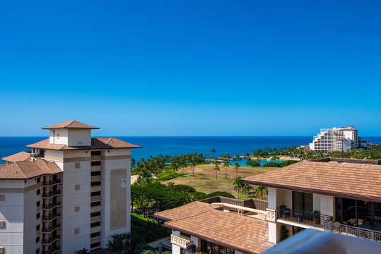 Morning View from our Ko Olina Condo on Oahu Penthouse Lanai
