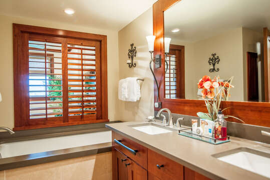 Large Master Bath with a Large Soaking Tub and a Walk-in Shower