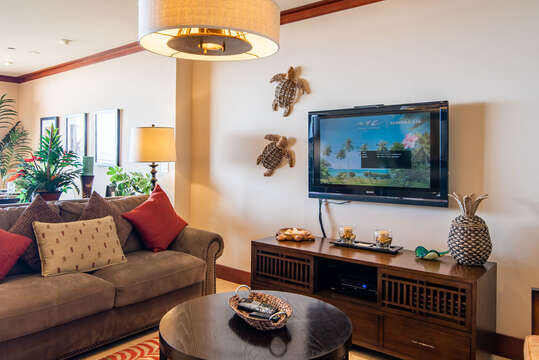 Spacious and Comfortable Living Area in our Ko Olina Condo on Oahu