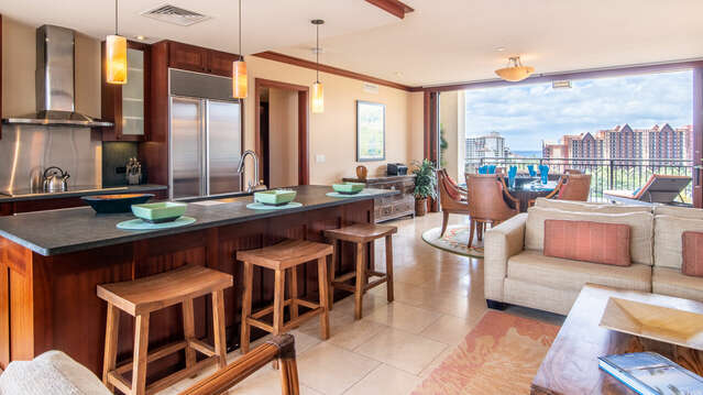 Breakfast Bar with a View at our Ko Olina Condo on Hawaii