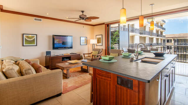 Large, Comfortable Living Area at our Ko Olina Condo on Hawaii