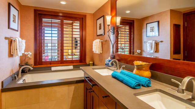 Master Bathroom with Dual Sinks, Deep Soaking Tub and Large Walk-in Shower