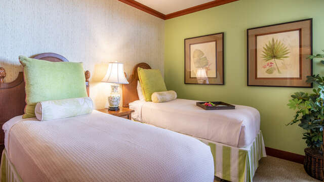 Third Bedroom with Two Twin Beds and Green Decor