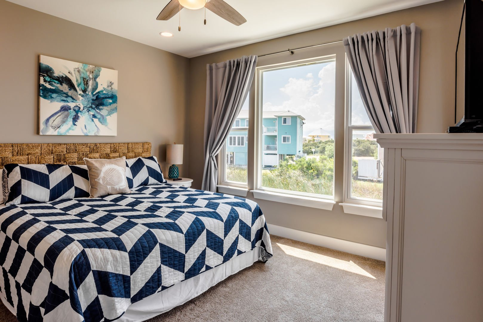 The Master Bedroom Has a King Bed with Access to the Deck