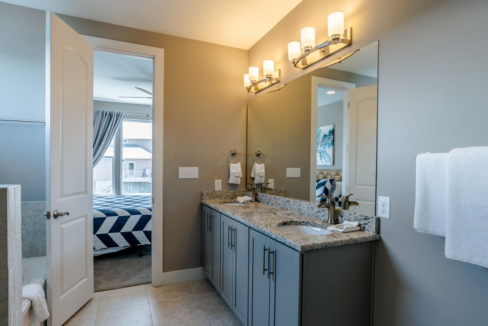 Master Bathroom in our Fort Morgan, Alabama Vacation Home Has Dual Vanities