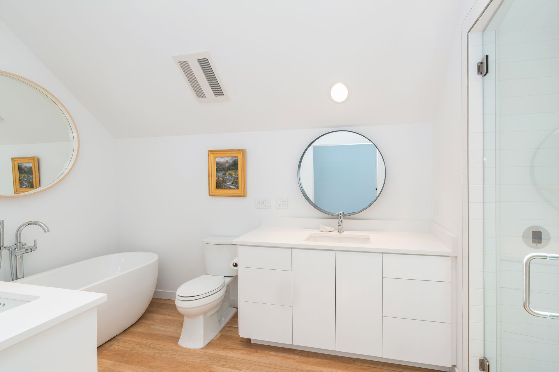 Full Bathroom with Soaking Tub and Separate Walk-in Shower