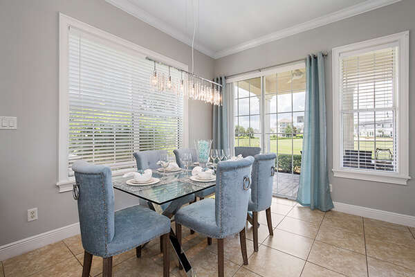 Enjoy your meals on the dining table with seating for 6.