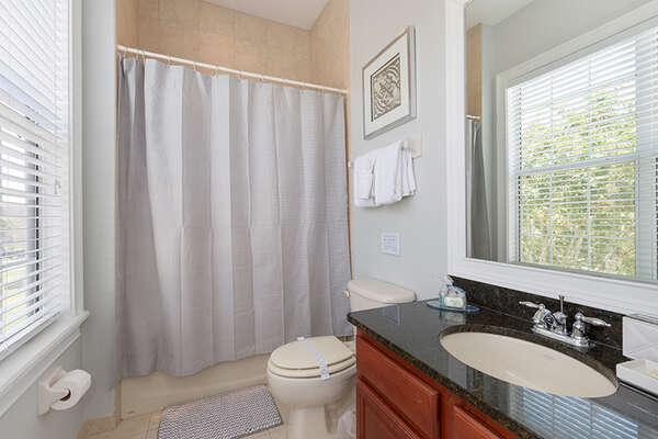 The annex has a full bathroom.