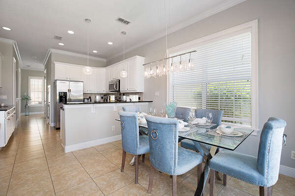 Elegant dining area and kitchen area.