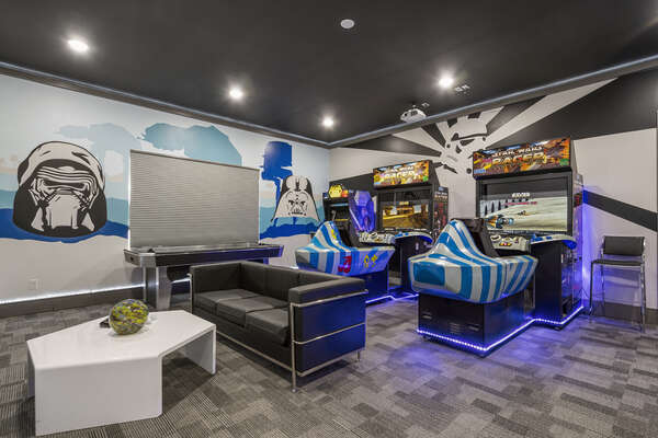 Featuring an air hockey table, two Star Wars Racers and a Star Wars multi-arcade game