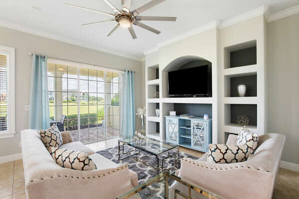 The living area allows a view to the golf course.