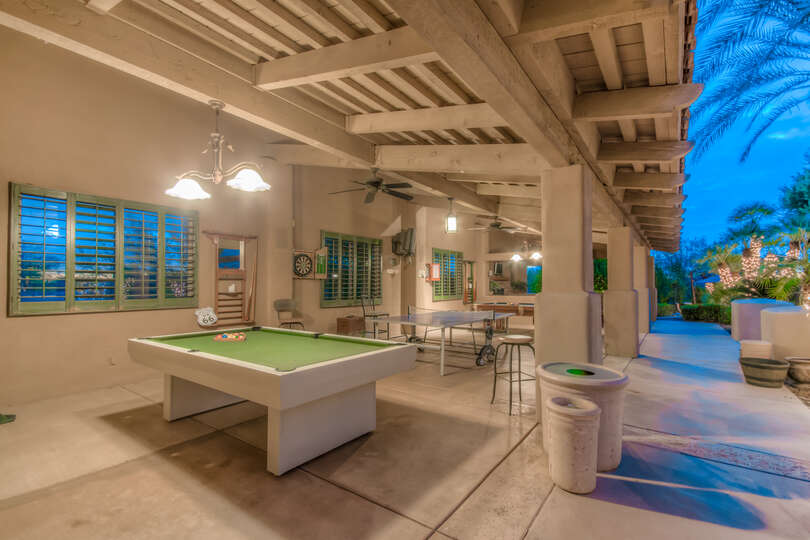 Outdoor Game Area with Ping Pong and Pool Tables